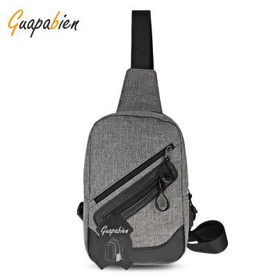 ac272f650a Guapabien Stylish Business Shoulder Bag USB Port Durable Traveling Chest  Bags Chest Bag USB Charging Luminous Shoulder Bags Men Waterproof