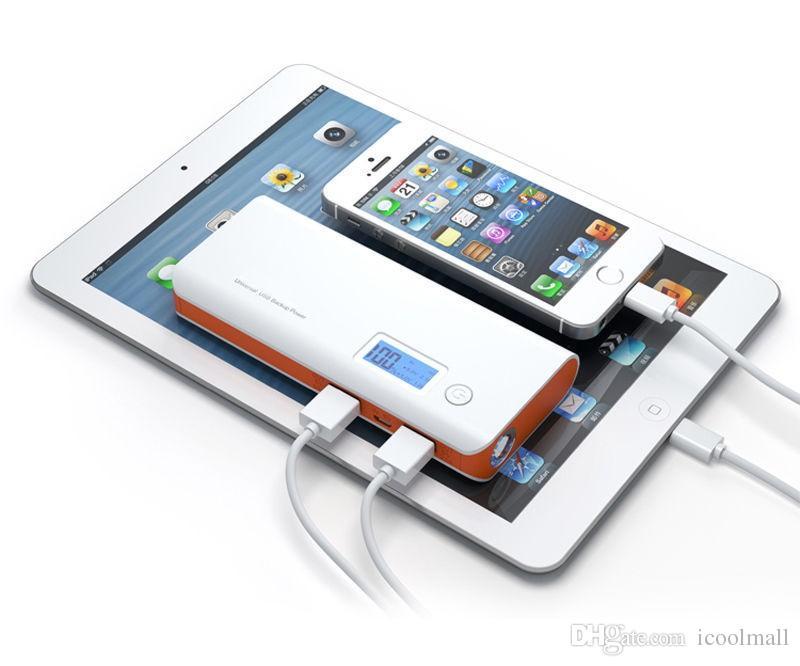 Taşınabilir PowerBank 10000 mAh Güç Bankası Çift USB LCD Ekran LED Işık Harici Pil Paketi Şarj Samsung Xiaomi Cep Telefonu