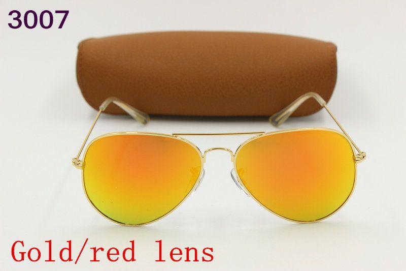 6a24545c3 Compre New Alta Qualidade Dos Homens Da Moda Óculos De Sol Retro Marca  Óculos De Sol Do Motorista Moldura De Ouro Vermelho Flash De Lente De Vidro  Caixa De ...