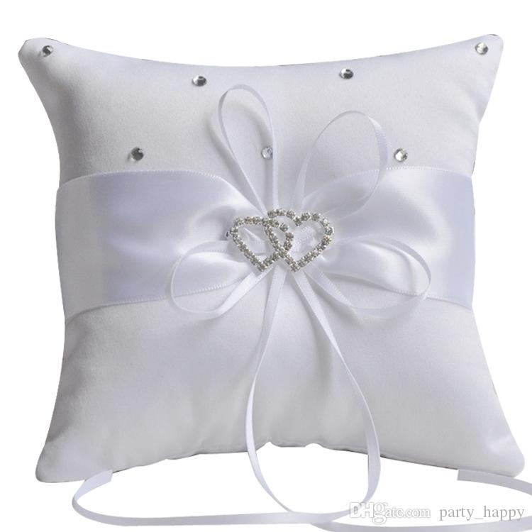 Ivory Ring Bearer Pillow New Wedding Ceremony White Satin Flower Crystal Cushion