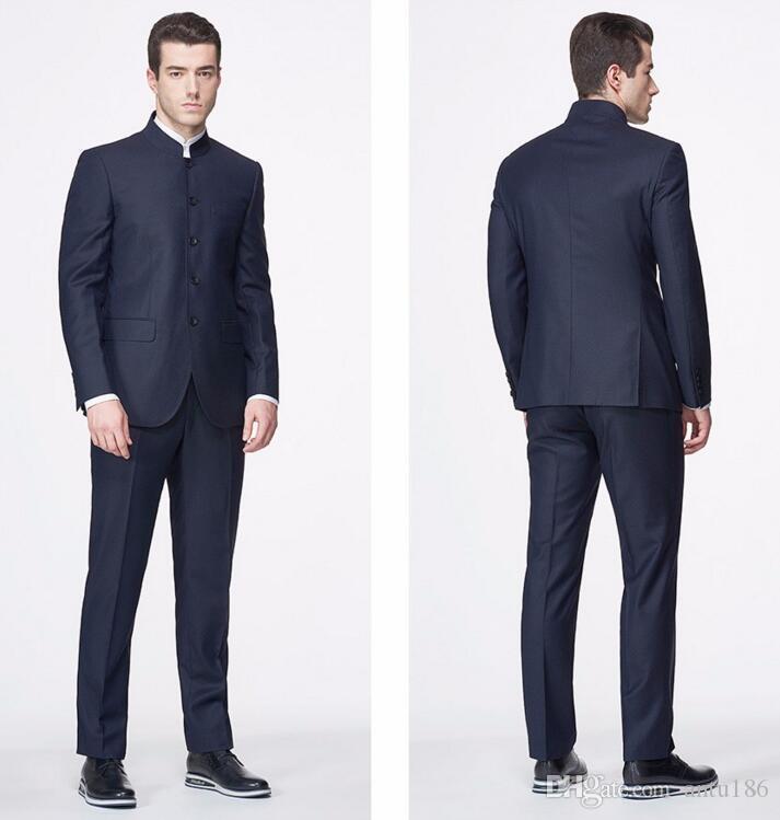 Custom Made Men Suits clássico Blazer gola mandarim Moda Elegância ternos ternos feitos sob encomenda vestido feito jaqueta e calça