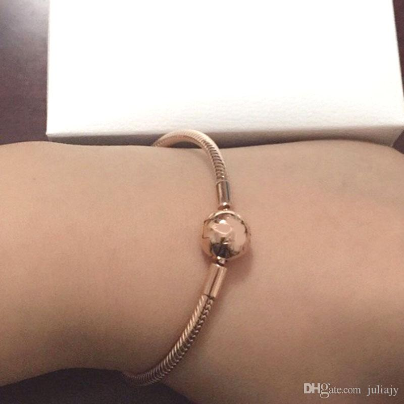 2017 New Rose gold Moments smooth Clasp Bracelets fit pandora 925 sterling silver charms beads DIY for women bangle fine Jewelry