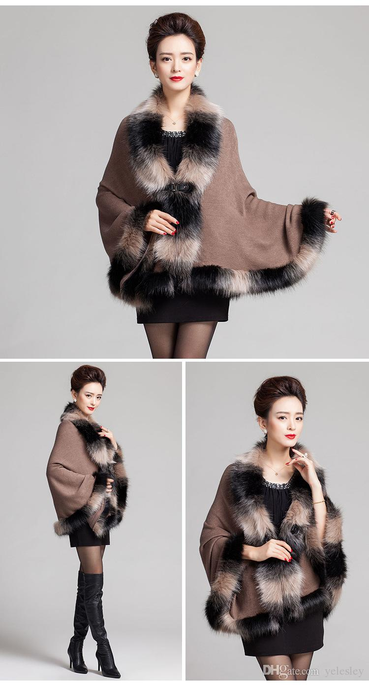 Faux Fox Fur Mixed color Poncho Coat Autumn Winter Fashion Knitted Cardigan Wool Cashmere Sweater Womens Capes and Ponchoes