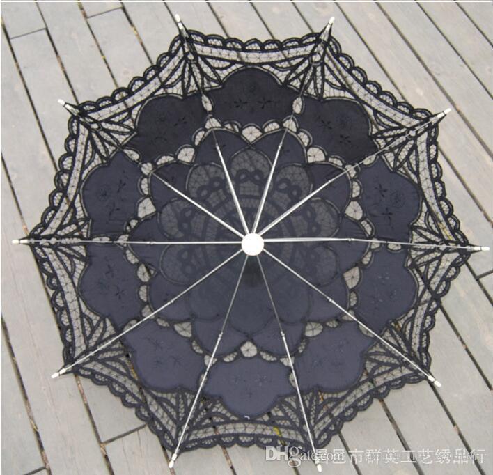 100% Algodón Parasol nupcial hecho a mano Battenburg bordado de encaje paraguas de sol elegante boda boda paraguas de alta calidad