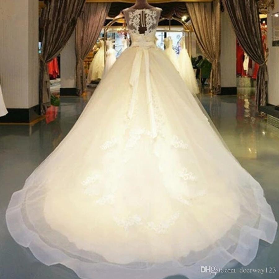 2020 hermoso una línea sin mangas Vestidos de novia de tul ilusión escote Apliques Elegnat Vestidos de novia por encargo tribunal tren