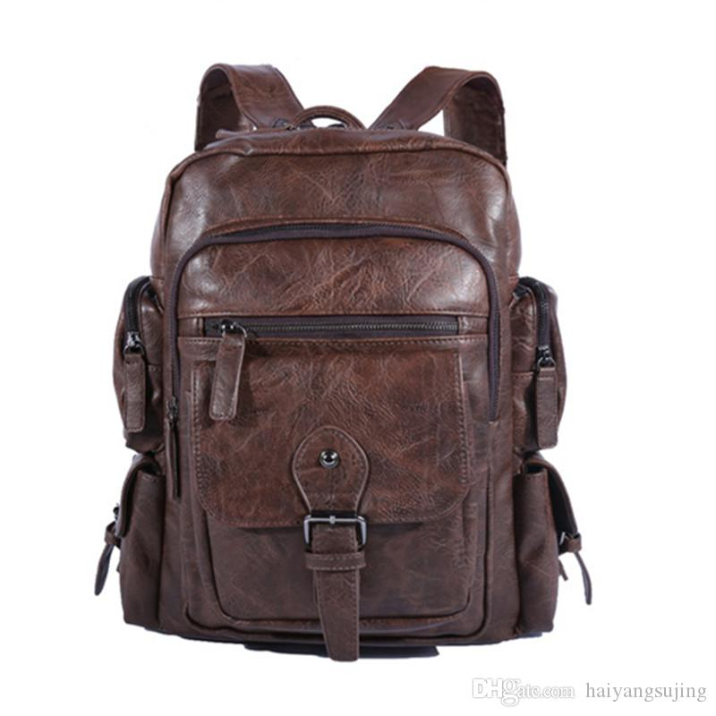 Cool Men Backpacks Man Rucksack 14 Inch Laptop Student Schoolbags Boys  Travel PU Leather Backpack Bags Teens Retro Sports School Bag School Bags  For Girls ... 8abc827c8e5c3