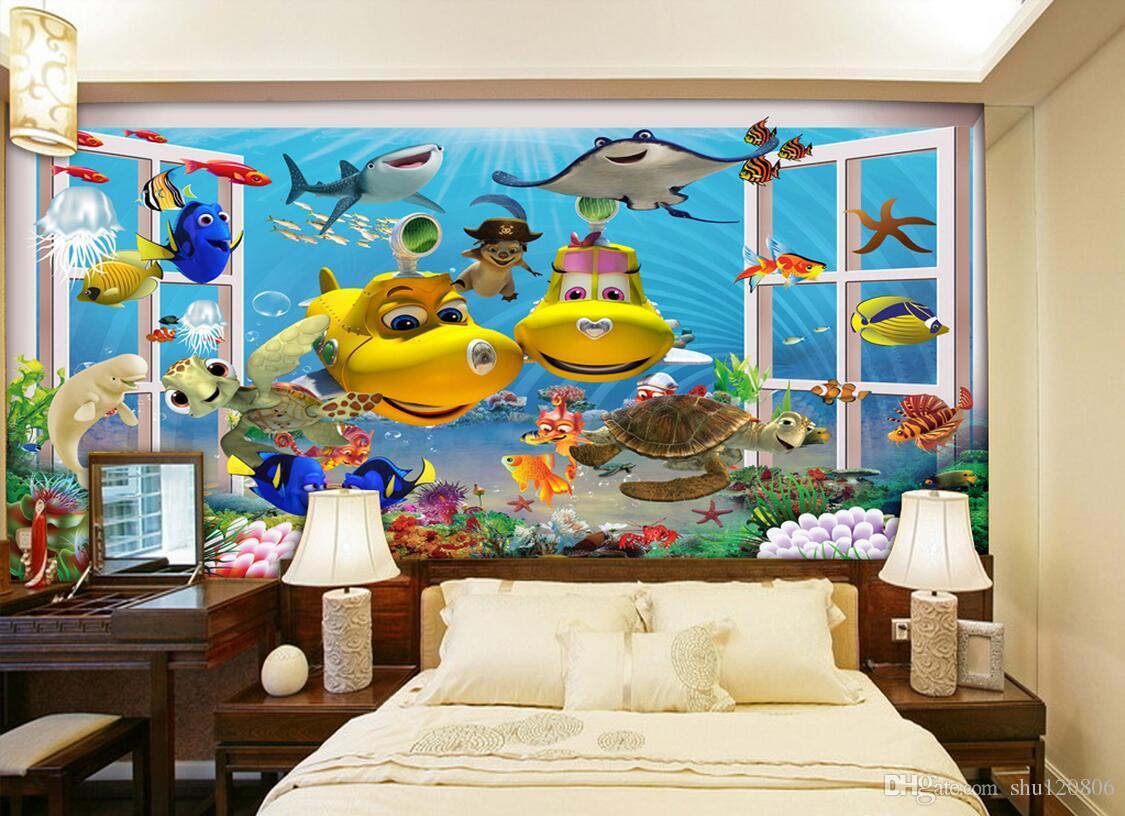 3d wallpaper custom photo mural Cartoon ocean submarine fish decoration painting 3d wall murals wallpaper for walls 3 d living room