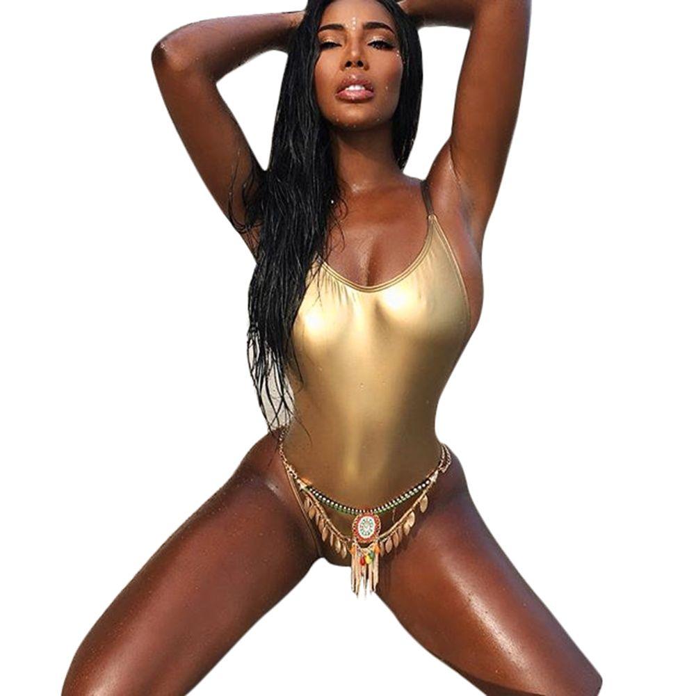 54079949c9bdc 2019 2018 New Summer Sexy Thong One Piece Swimsuit Women Beach Wear Bathing  Suit Golden Swimwear Push Up Monokini Femme Whole Sale From Ouwenyan1