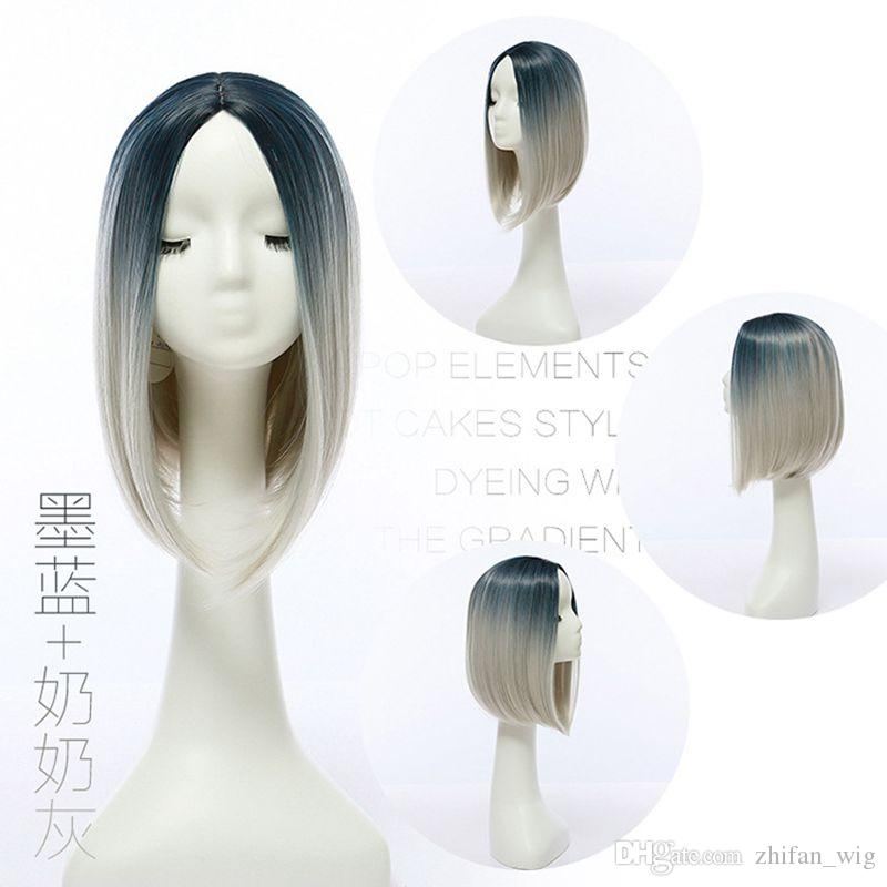 ZF Populaire Style 30 CM Ombre Shot Bob Perruques Droite Synthétique Perruques de Cheveux pour les Femmes Parti Cosplay Perruques Naturelles