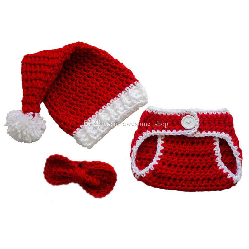 25f76dcae 2019 Baby Santa Outfit,Handmade Crochet Baby Boy Girl Christmas Santa Hat  Diaper Cover Bow Tie Set,Infant Toddler Christmas Costume Photo Prop From  ...