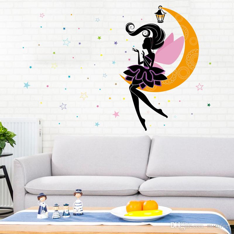 Cartoon moon fairy stars waterproof stickers sitting room children room cartoon PVC wall stickers can be removed