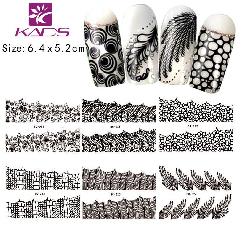 Wholesale 7sheet/. Full Size Bc22 28 Black Color Water Decal Nail ...