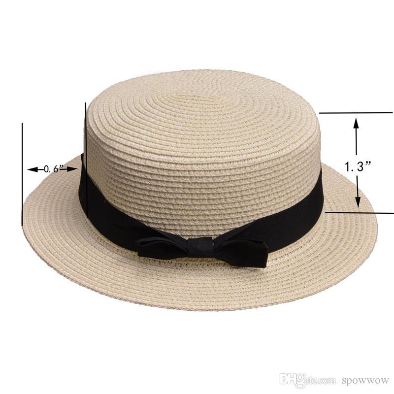 Lady Classic Boater Sun Caps Ruban Rond Plat Top élégant Paille Panama Summer Beach Hat A456