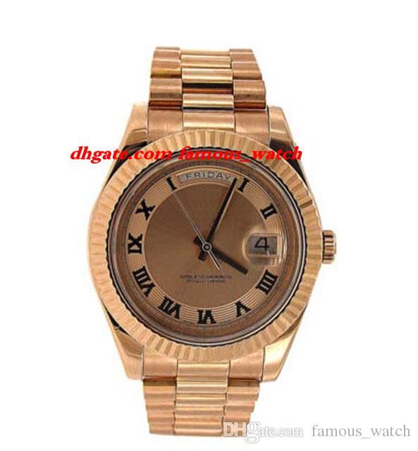 Neue mode luxus edelstahl armband 41mm automatische mechanische bewegung uhr rosa gold rosa zifferblatt - 218235