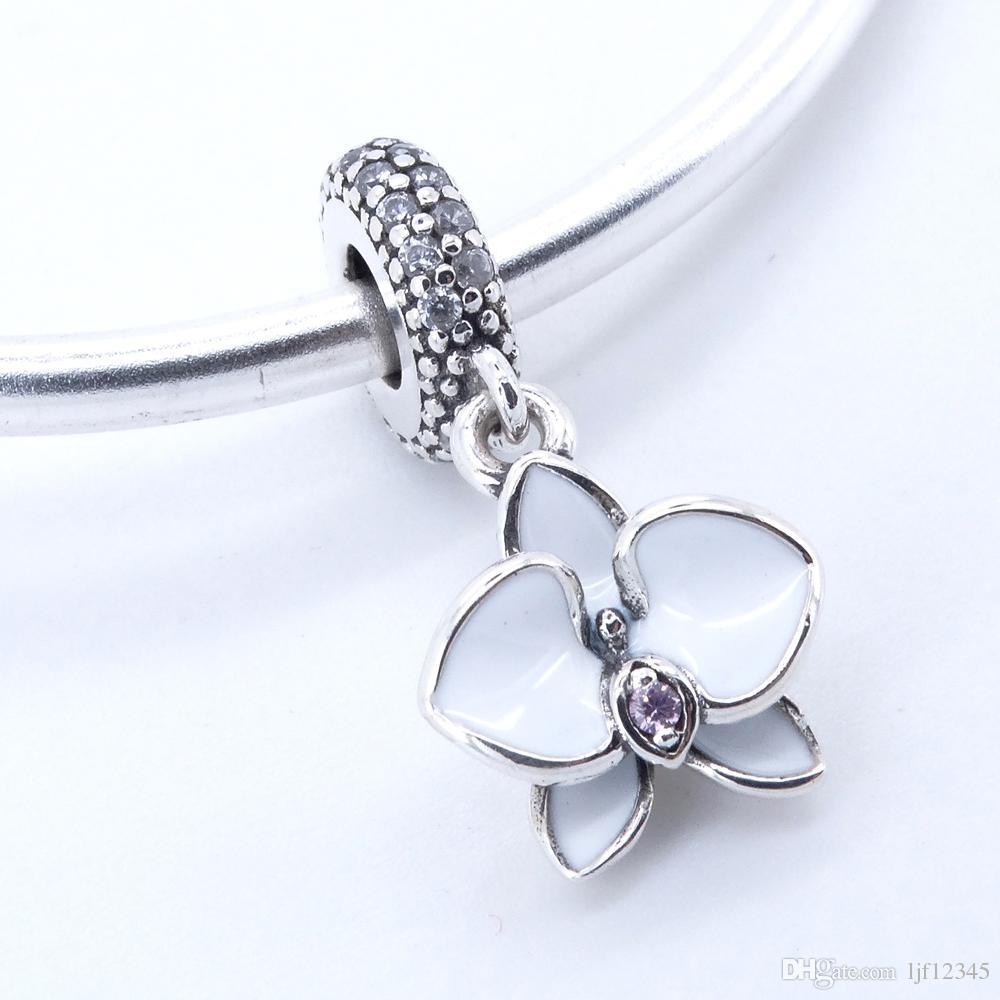 925 Sterling Silber Schmuck White Orchid Anhänger Charm Perlen passen Pandora Charms Armband Armreif für Frau Schmuck finden 2017 Sommer