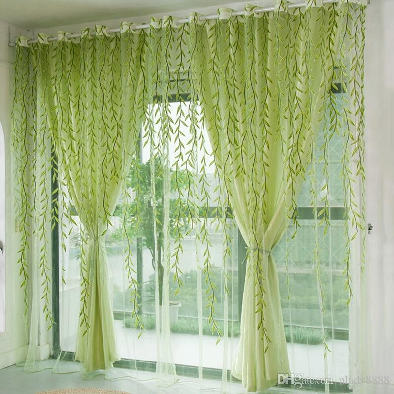 2019 Green Willow Sheer Curtain For Living Room Window Blackout Curtains Home Decor Draperies Drapes Organza Tulle From Alady8888