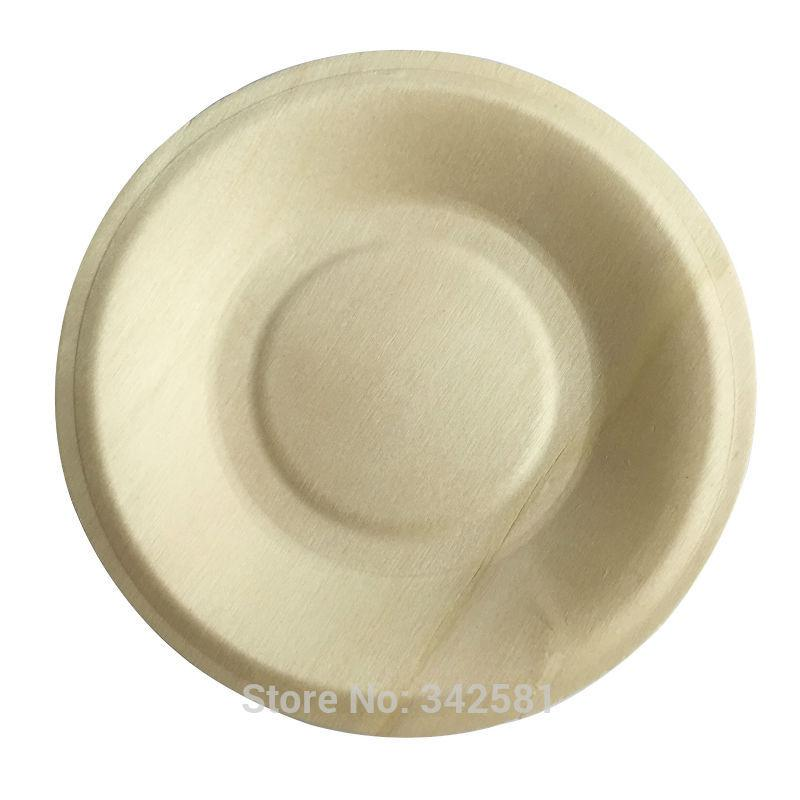 Wholesale 25pcslot 14cm Biodegradable Compostable Disposable Wood Plate Round Plate Wedding Party Plate Baby Shower Buffet Restaurant