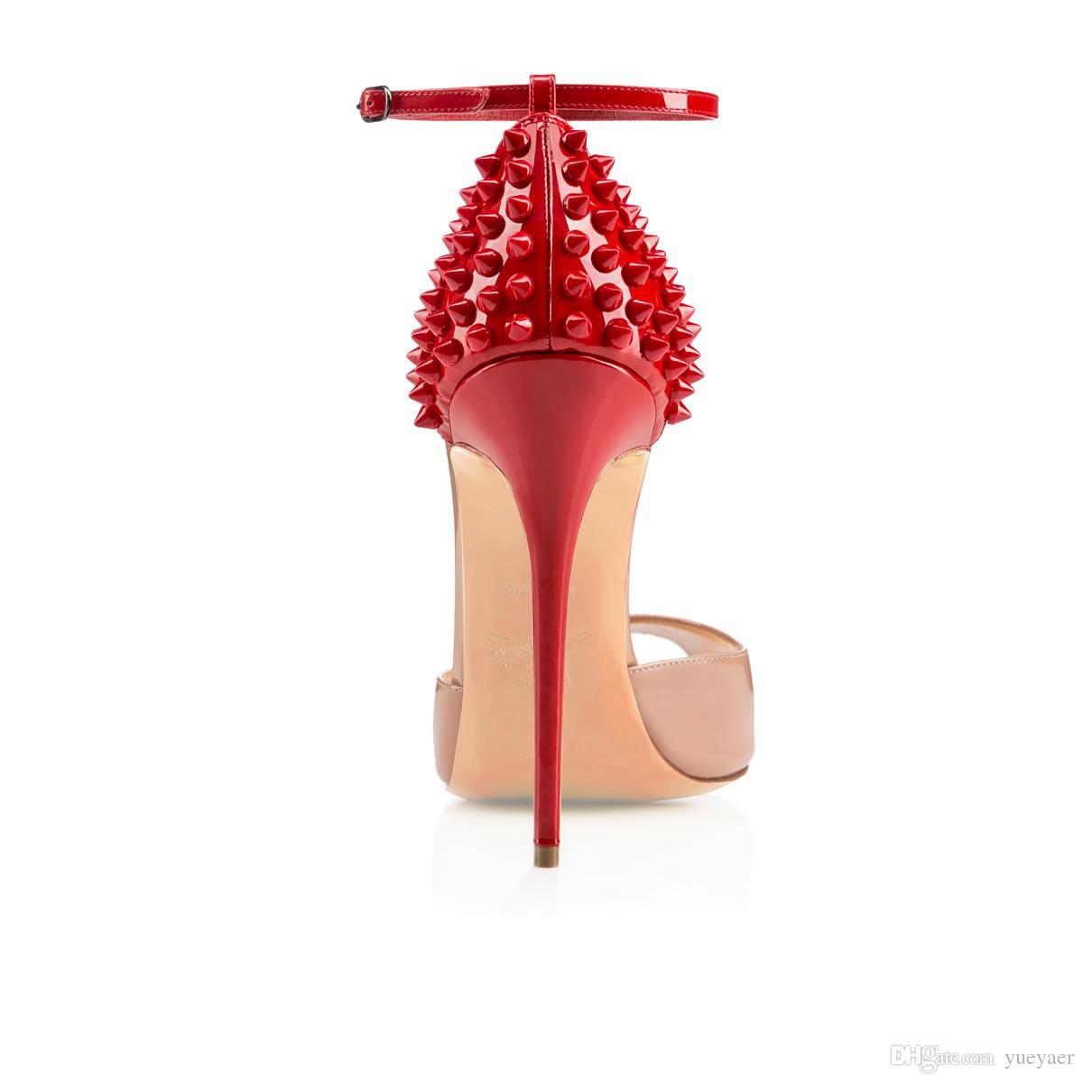 Karmran Women Handmade Fashion Peina Spikes 120MM Peep Toe cinturino alla caviglia tacchi alti sandali del partito beige