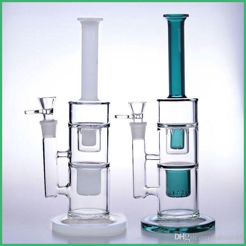 32 cm de altura de vidro colorido bongs canos de água 14mm recycler oil rigs bacia dab fumar em linha duplo favo de mel perc 18mm branco verde
