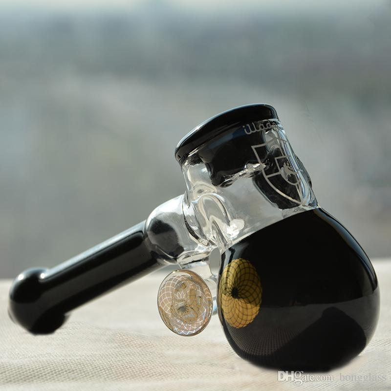 Tubi di vetro spessa Sherlock Mini martello da parete pesante vetro design manico cucchiaio bruciatore di olio tubo di fumo erba secca