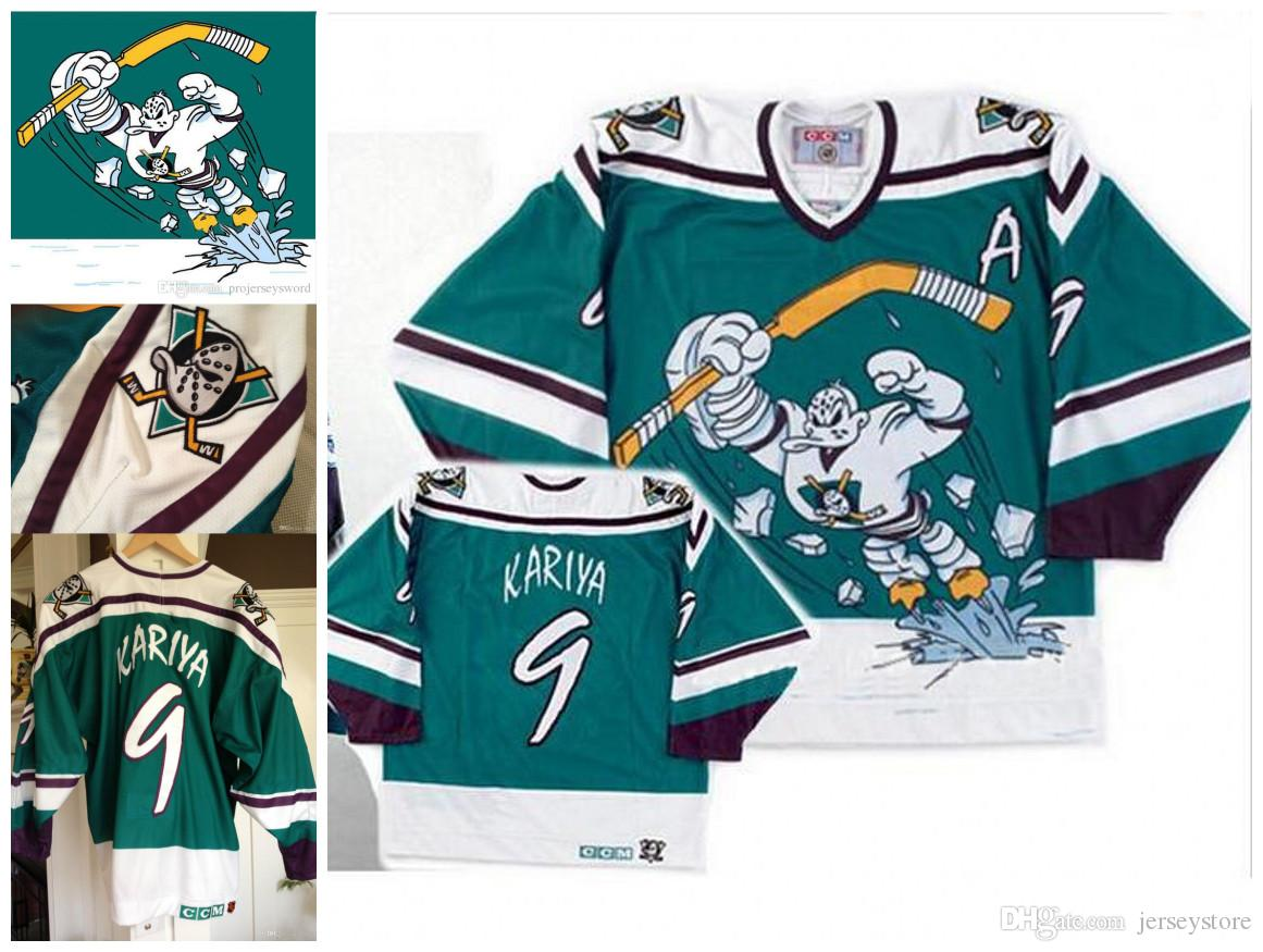 71d7c7a57 ducks 9 paul kariya purple turquoise ccm throwback stitched nhl jersey   cheap 2016 new anaheim throwback mighty ducks wild wing jersey 5 dirk 8  teemu ...