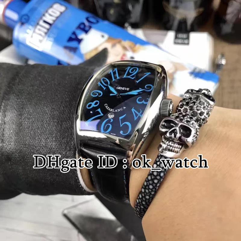 Nouveau haute qualité montres pour hommes PVD boîtier en acier noir CASABLANCA montre automatique 8880 C boîtier noir montre bracelet en cuir noir Montres pour hommes