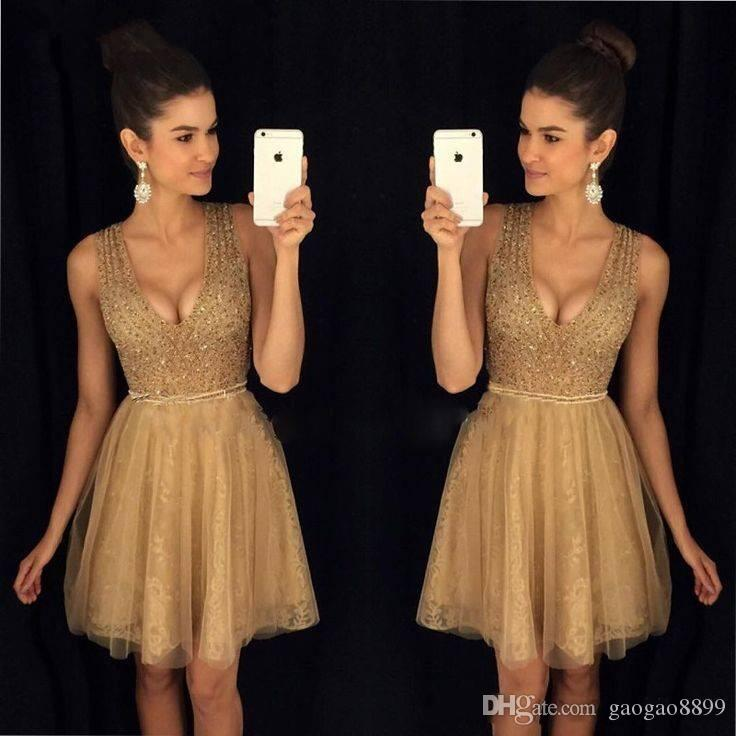 Gold Little Short Homecoming Dresses Crystals Beaded Top A Line Scoop Neckline Tulle Lace Short Prom Cocktail Party Cheap Gowns DTJ