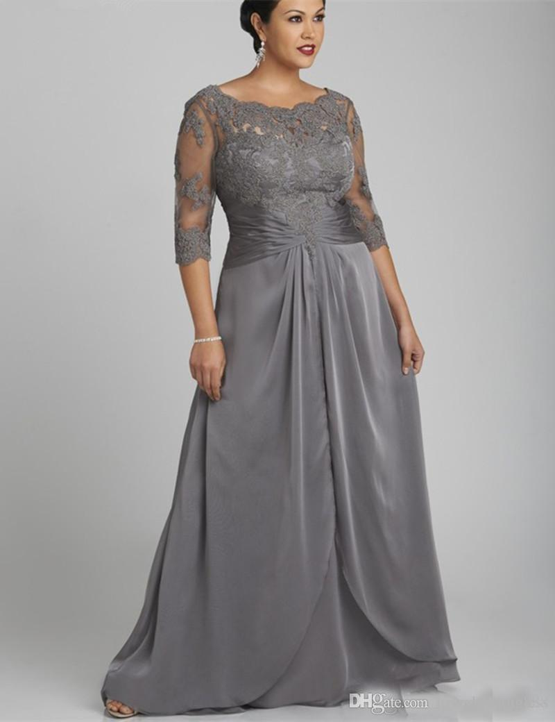 2019 Plus Size Gray Mother of the Bride Dresses 3/4 Long Sleeves Applique and Chiffon Moms Formal Evening Gowns Long Elegant