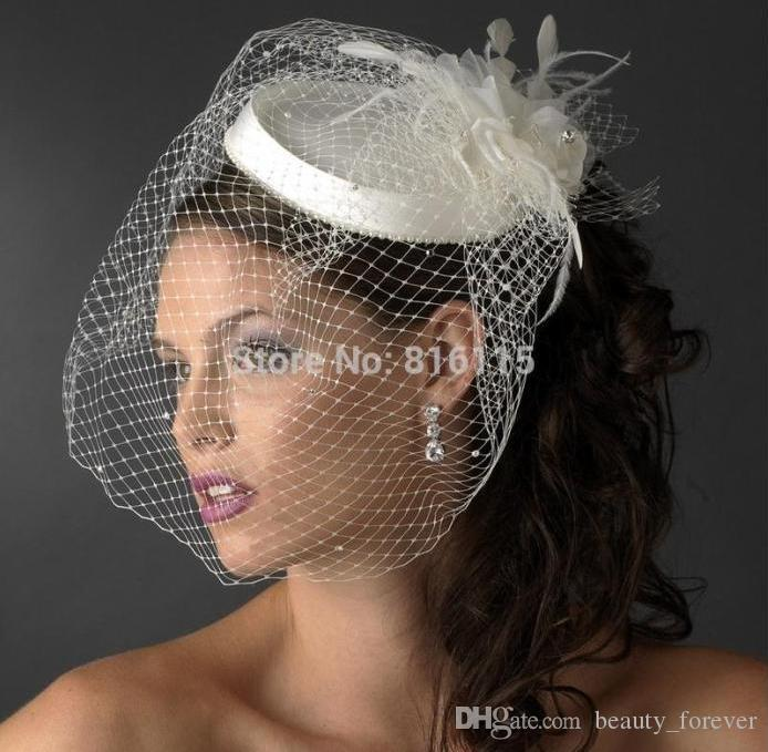 Beautiful White Ivory Birdcage Bridal Flower Feathers Fascinator Bride Wedding Hats Face Veils Veil Hat For Weddings From