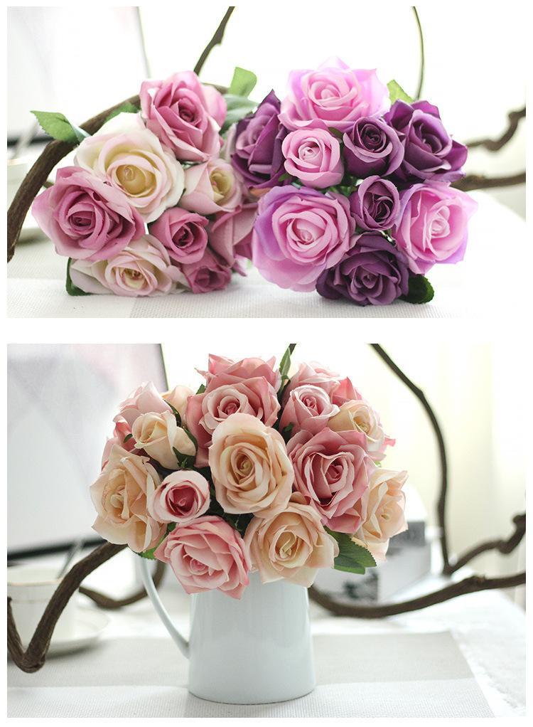 Bouquet De Mariée De Mariage Fleurs Faux Soie Rose Artificielle Anniversaire De Bal De Fiançailles Partie Maison Décoration Mariée Demoiselle D'honneur Bouquet Fleurs