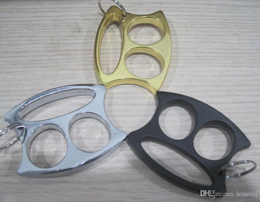 Nuevo llavero llavero linda cara pequeña dos dedos herramientas herramientas de defensa personal para hombre y mujer nudillo