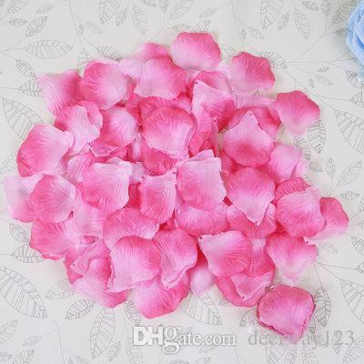 Fashion Atificial Poliéster Flores para decoraciones de boda románticas Pétalos de rosa de seda Confeti Nuevo Viniendo Colorido