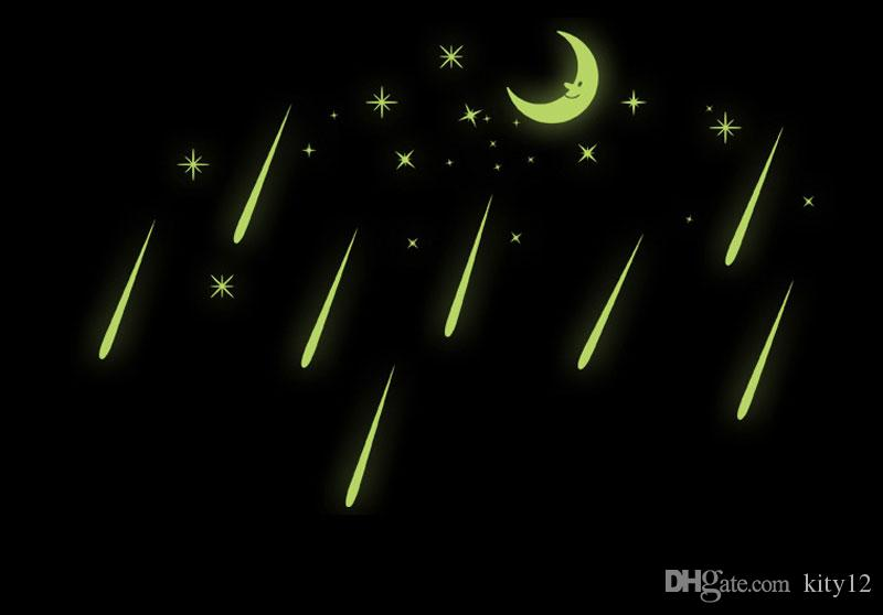 Wholesale Fluorescent Romantic Meteor Shower Moon DIY Wall Stickers Night Glow in Dark Luminous Stars Kids Room Nursery Mural Decal