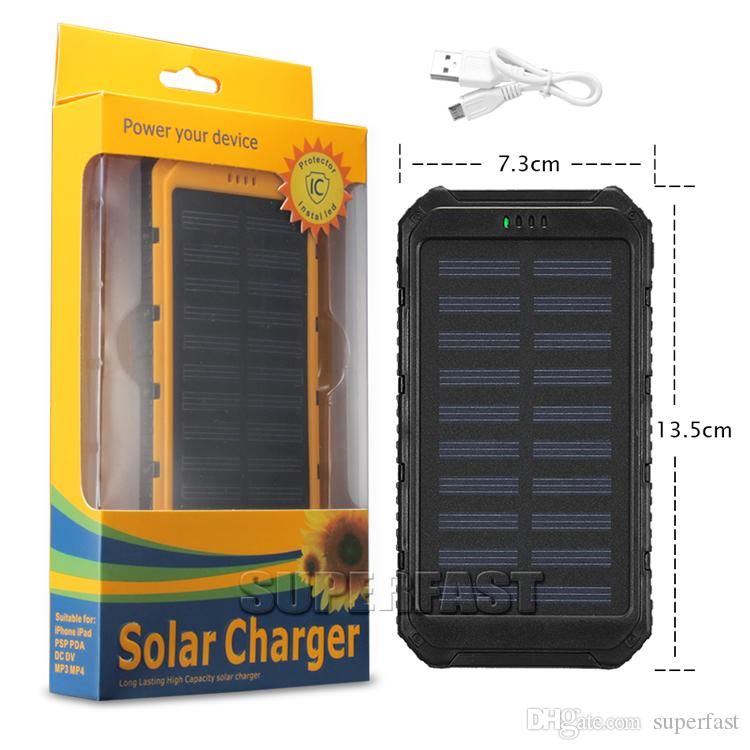 Banque de chargeur solaire antichoc de 4000 mAh de panneaux solaires portatifs de 6000 mAh Chargeurs solaires fonctionnels de 8000 mAh pour MP3 MP4 avec le paquet de vente au détail