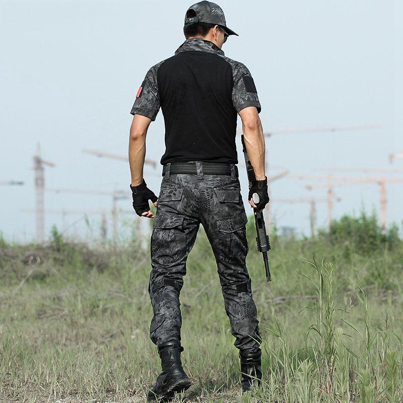 Camisas de verão Curto Multicam Camuflagem Uniforme Conjunto Tático Do Exército Dos Homens Combate Camisa + Carga Calças Roupas de Airsoft Paintball Conjunto Com Almofadas