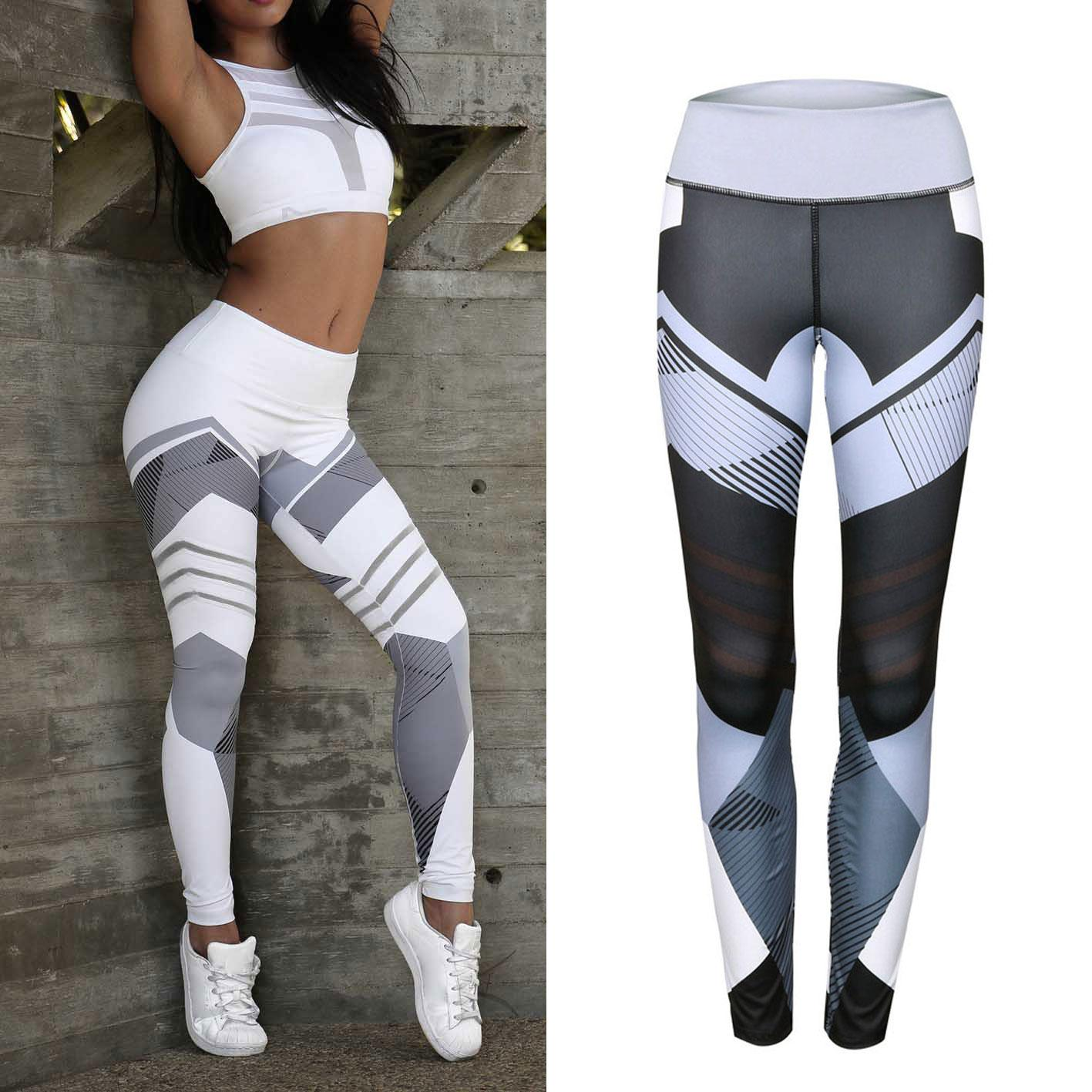 12ad047be Geometric Pattern Yoga Pants Women Fitness Trousers Leggings Breathable  Running Sexy Tights Sport Gym Leggins Athletic Workout Sportswear