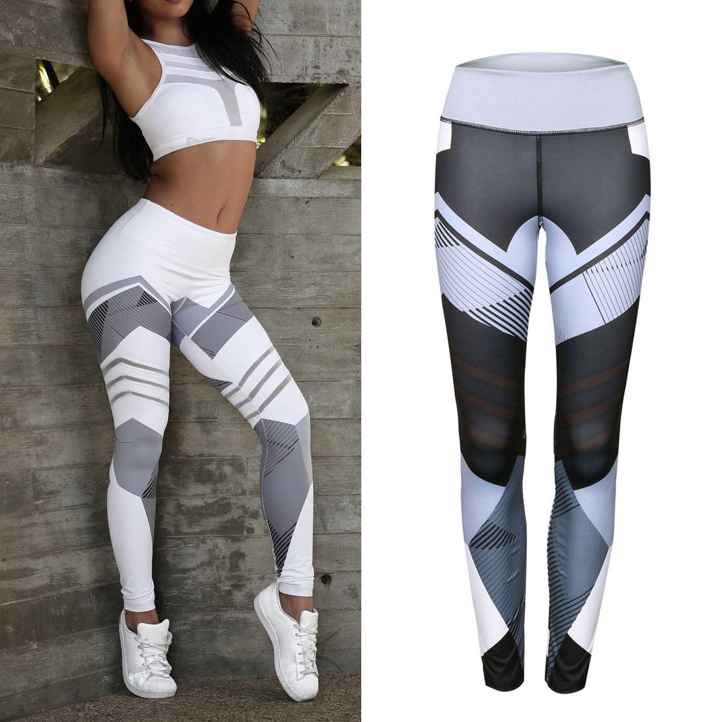 Sportswear Sport Leggins Yoga Fitness Running Gym Workout Femmes Motif Géométrique Collants Respirant Sexy Athletic Pantalons Leggings 3ARj54L
