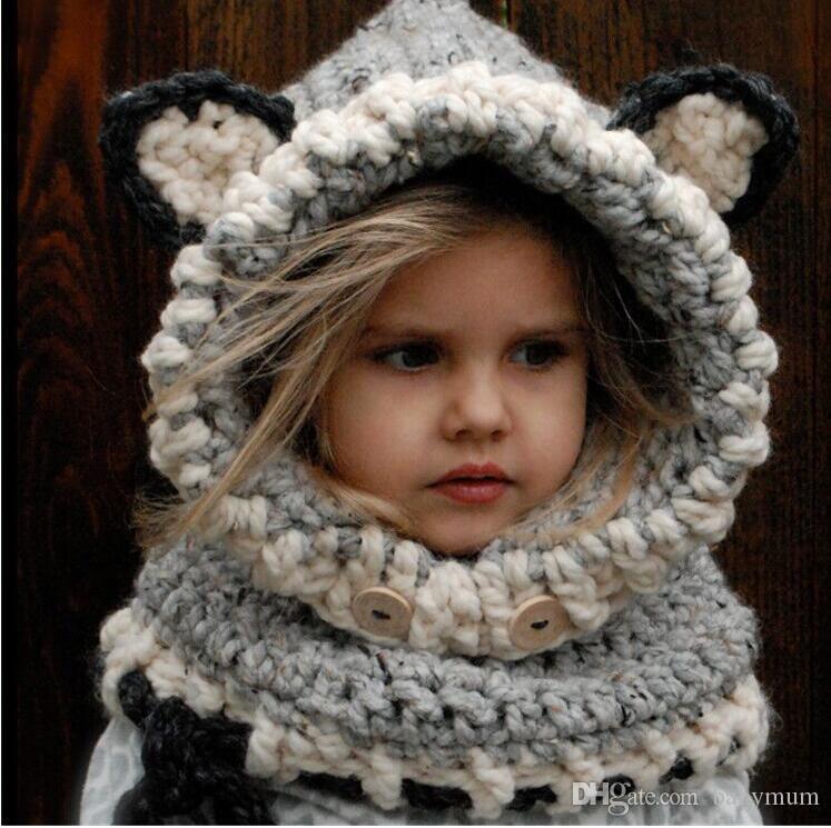 Sombrero de niña de invierno cálido Sombrero de lana oreja de Fox Gorras de niños proteger orejas Sombrero de bebé gorro de dibujos animados bufanda cuello abrigo Set