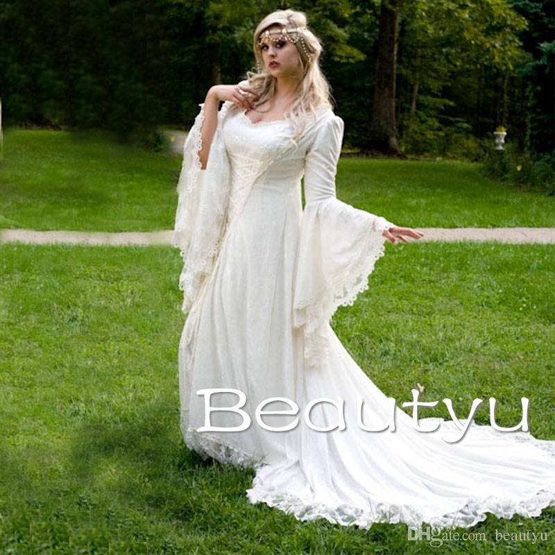 Great 2018 Medieval Wedding Gown Renaissance Bell Sleeve: Discount Vintage Lace Gothic Overskirts Wedding Dresses