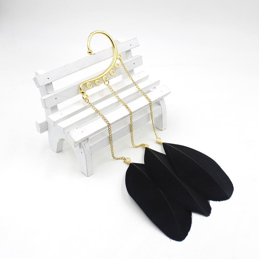 1 sztuk Nowy Moda Trendy Hot Street Feather Kolczyki Kobiet Dziewczyna Punk Tassel Ear Hook Kolczyki Biżuteria Do Ear Clip Cuff Ear