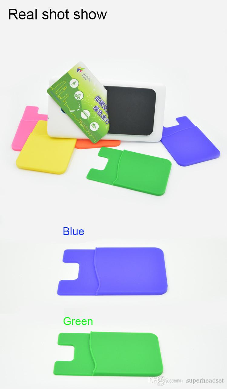Telefon-Kartenhalter-Silikon-Handy-Mappen-Kasten-Kredit-ID-Kartenhalter-Taschen-Stock auf 3M Kleber mit opp Beutel