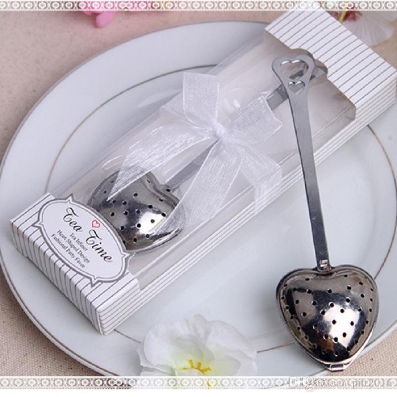 100pcs wedding gift and giveaways Tea Time Heart Tea Infuser Favor in Teatime Gift Box Free ship