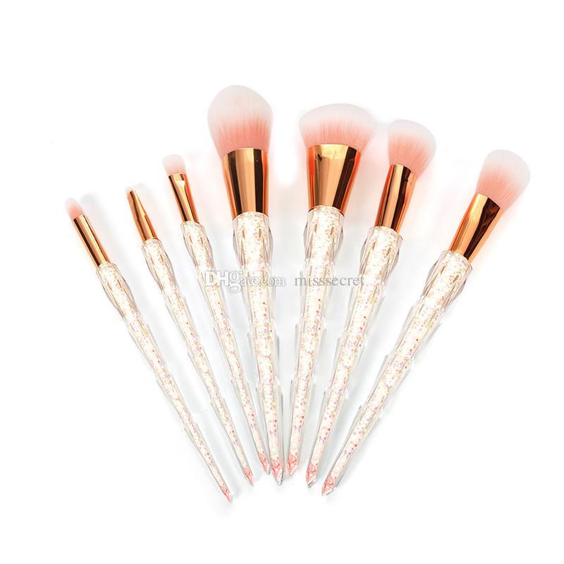 7/10 pezzi Pennelli trucco professionale Set filo Arcobaleno Manico Pennelli trucco Cosmetici Fard in polvere Miscelazione Smooth Diamond Makeup Brush