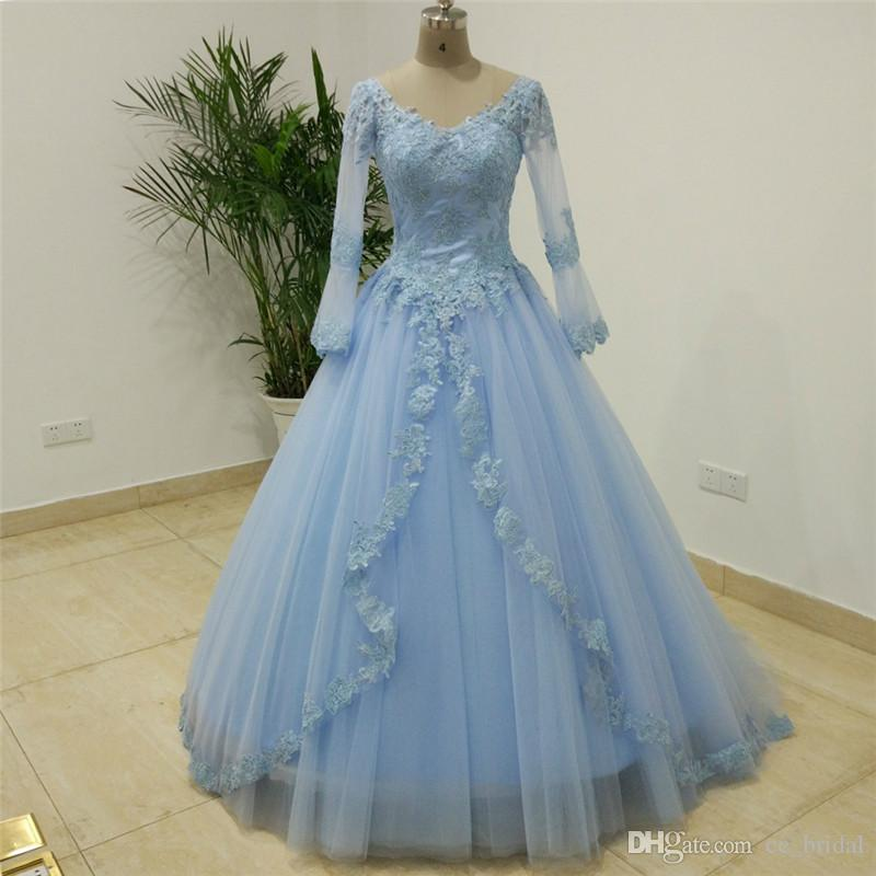 Sheer Long Sleeve Light Blue Quinceanera Dresses Ball Gown Lace ...