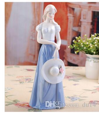 Dekoration Kunst Handwerk Mädchen Geschenke Elegante westliche Keramik Schönheit Figur Ornamente Home Dekore dekorative kreative Keramik Porzellan