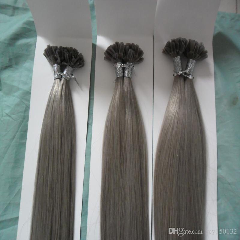 extensões de cabelo cinza u-Tip cabelo 300g 300s pré ligado queratina vara ponta cabelo humano