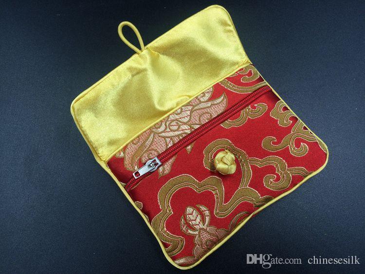 Chinese knoop zijden brokaat kleine zakjes tas met rits sieraden pouch portemonnee cadeau verpakking creditcardhouder case opbergtas 2 stks / partij