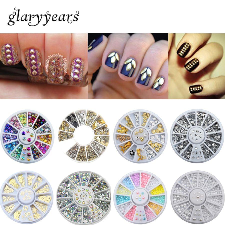 Wholesale 13 Designs 3d Nail Art Accessories Metal Crystal ...