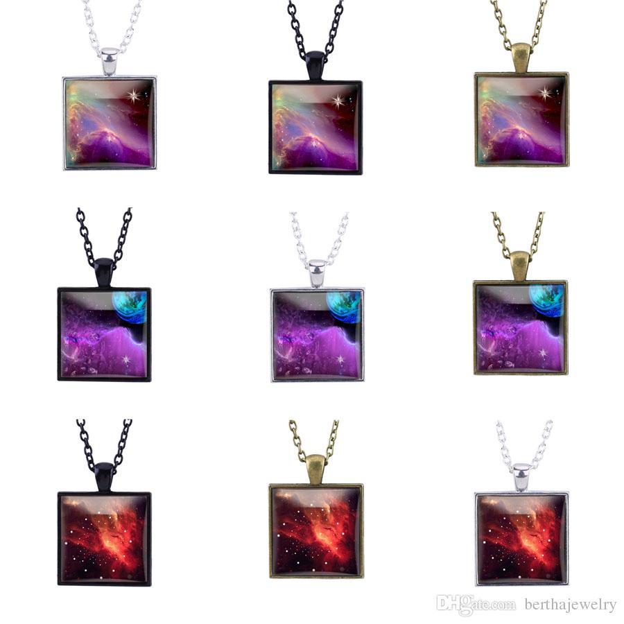 charms Planet galaxy Retro collana in vetro cabochon spazio universo pendente donne Cielo stellato set completo di gioielli regali l'astronomia