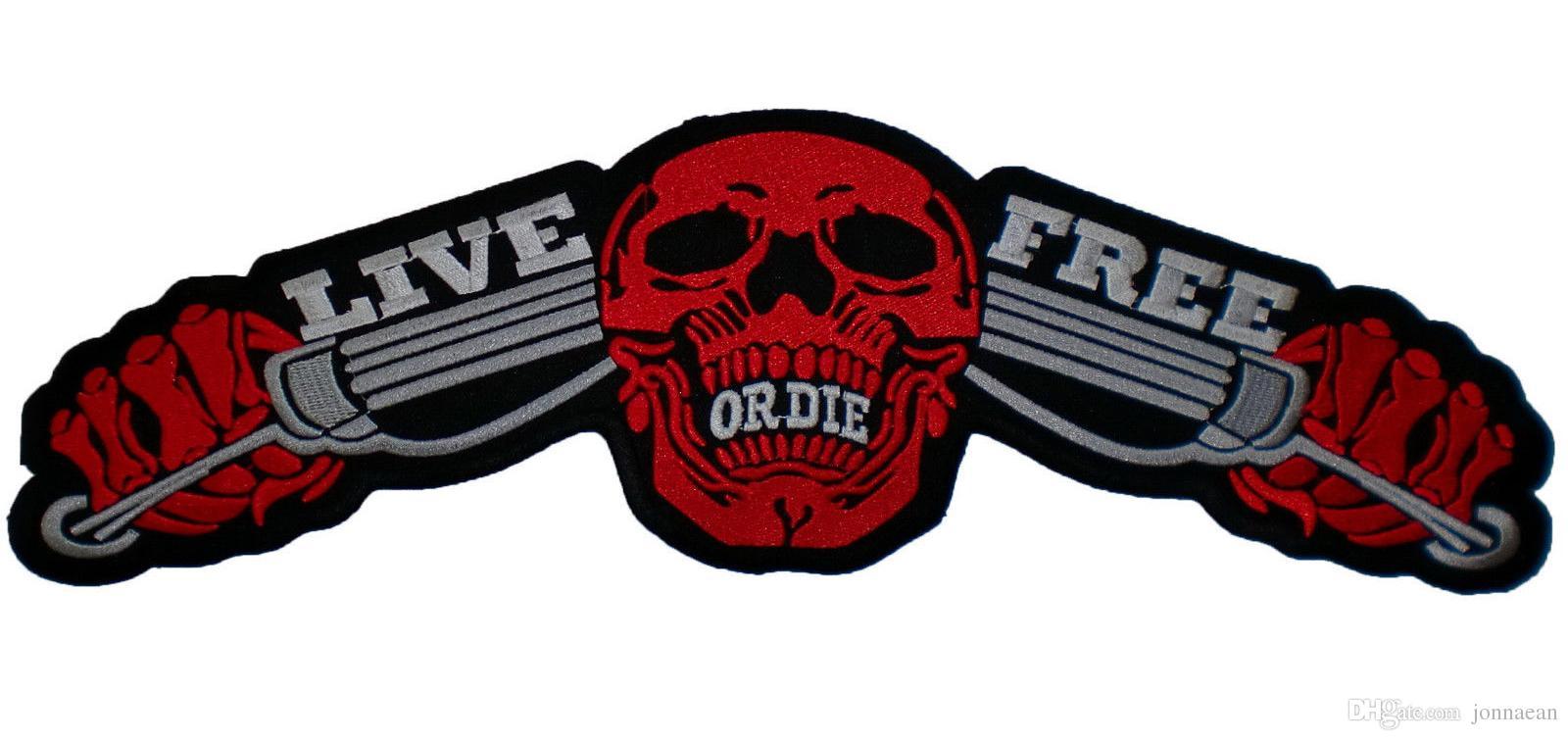"Large LIVE FREE OR DIE Motorcycle Biker Rocker Patch MC Back Motorcycle Vest Big RED Patch 14"""